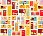Happy Home Fabric Printed by Spoonflower BTY