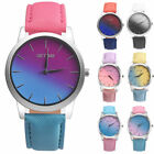 Classic Retro Rainbow Design Leather Band Analog Alloy Quartz Women Wrist Watch image