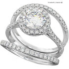 3CT ROUND CUT DIAMOND 3 PIECE S925 SILVER ENGAGEMENT BRIDAL RING SET WS2-L7∆