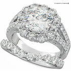 3CT CUSHION CUT DIAMOND 2 PIECE S925 SILVER ENGAGEMENT RING SET WS2-L12 ∆