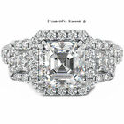 4.5CT ASSCHER CUT DIAMOND S925 SILVER WEDDING ENGAGEMENT BRIDAL RING CR1-L20 ∆