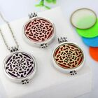 Round Openable Hollow Flower Luminous Aromatherapy Necklace Jewelry New
