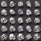 Wholesale Mixed Lot Big Skull Silver Men's Rings Fashion Jewelry Biker Punk Ring