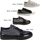Womens Glittery Flats Lace Up Ladies Low Top Trainers Pumps Sports Gym Shoes