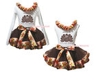 Gobble Till You Wobble Turkey White Top Brown Turkey Trim Skirt Outfit Set NB-8Y