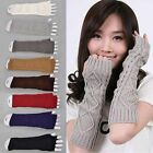 Ladies Solid Fingerless Knit Mitten Women Long Gloves Winter Arm Warmer SHIP US