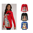 WOMENS XMAS CHRISTMAS NOVELTY UNISEX POMPOM RETRO RUDOLPH JUMPER SWEATER