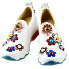 Epicsnob Womens Shoes Wedge Heel Bling Flowe Deco Slip On Fashion Sneakers