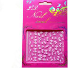 3D Nail Art Stickers Decals Transfers White Sliver Flowers Rhinestone 2 Sheets