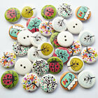 20/50/100pcs Wood Buttons Cute Tree Insect Round 2 Hole Sewing Accessories Craft
