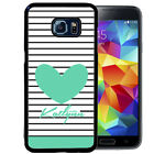 PERSONALIZED RUBBER CASE FOR SAMSUNG S8 S7 S6 S5 EDGE PLUS STRIPES TEAL HEART