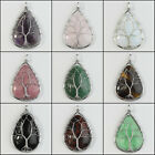 Natural Amethyst Rose Quartz Teardrop Silver Tree of Life Pendant For Necklace