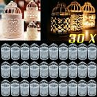 LOT New 30 Bird Cage Hollow Candle Holder Candlestick Hanging Lantern White HM
