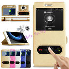 Silk PU Leather Cover kickstand View Window Phone Case for Huawei Y6 ll Compact