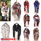 Women Oversized Checked Plaid Scarf Spring Stylish Warm Blanket Gorgeeous Scarf