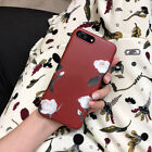 New Fashion Retro Wine Red Roses Flowers Case Cover For iPhone8 X 7Plus 6 6splus