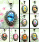 DISNEY LOCKET PENDANT NECKLACE GLASS CHARM FROZEN STITCH TINKERBELL SIMBA ALICE
