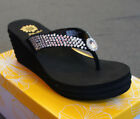 Yellow Box JACQUI Women Wedge Flip Flop Clear Sparkling Crystal Jewels Size 8.5