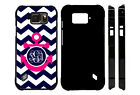 MONOGRAMMED CASE FOR SAMSUNG S4 S5 S6 S7 ACTIVE NAVY CHEVRON HOT PINK ANCHOR