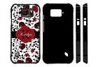 PERSONALIZED CASE FOR SAMSUNG S4 S5 S6 S7 ACTIVE ELEGANT RED BLACK FLOWERS
