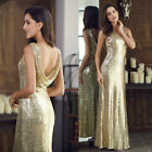 US Long Gold Sequin Pageant Evening Party Dresses Celebrity Ball Prom Gown 07110