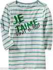 New OLD NAVY Girl's Shirt Size 5 Striped Boat Neck Sequin Graphic Tee XS
