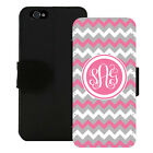 MONOGRAMMED WALLET CASE FOR iPHONE X 8 7 6 5 PLUS PINK GRAY WHITE CHEVRON