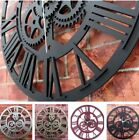 Modern Home Decor Wall Clock Large Round Vintage Metal Color Steampunk Skeleton