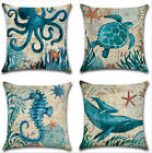 Marine Ocean Animal Cotton Linen Pillow Case Throw Cushion Cover Home Decor 18""