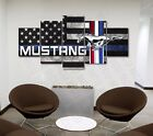 Large American Flag Ford Mustang Five Piece Canvas Print Wall