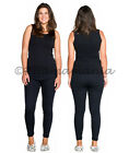 Thermals Ladies Cotton Thermal Underwear Singlet 2pc Set Black Size 8-22