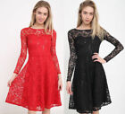 Womens Ladies Long Sleeve Lace Flared Frankie Skater Short Mini Party Dress 6-18
