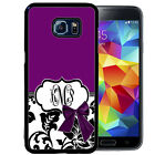 MONOGRAMMED RUBBER CASE FOR SAMSUNG S8 S7 S6 S5 EDGE PLUS PURPLE DAMASK BOW