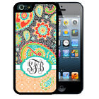 MONOGRAMMED RUBBER CASE FOR iPHONE X 8 7 6 5 SE 5c 5 PLUS DARK GRAY TEAL PAISLEY