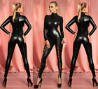 Sexy Hollow Out Rivet Latex Leather Catsuit WetLook Shiny Fancy Costume Jumpsuit