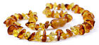 Genuine Baltic Amber Teething Necklace - Cognac/Lemon Chips - Baby to Mom Size