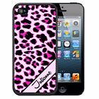PERSONALIZED RUBBER CASE FOR iPHONE X 8 7 6 5 SE 5c 5 PLUS PINK LEOPARD CHEETAH