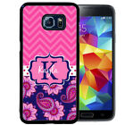 MONOGRAMMED RUBBER CASE FOR SAMSUNG NOTE 8 5 4 3 BLUE PINK PAISLEY CHEVRON