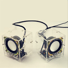 Mini Electronic Transparent Speaker Box DIY Kit Sound Amplifier Music Audio 3Wx2