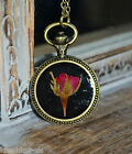 Real Rose Necklace in black resin in round bronze setting - Flower Jewellery