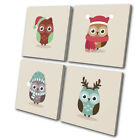 Cute Decoration Owl Winter Christmas MULTI CANVAS WALL ART Picture Print
