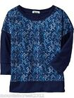 New OLD NAVY Girl's Shirt Size 8 Printed Banded Top Blue Medium