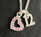 """12TH BIRTHDAY PRETTY HEART NECKLACE WITH AGE CHARM 16"""" 18"""" SILVER PLATED CHAIN"""