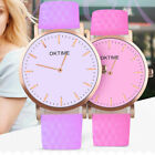 Creative Discolor Women Faux Leather Band Analog Wrist Watch Jewelry Flowery