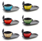 SOUP BOWL WITH MATCHING  SPOON AND BREAD PLATE VARIOUS COLOURS