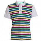 HENLEYS NEO MEN'S WHITE STRIPED POLO SHIRT - RRP 30