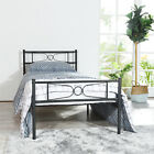 Bedroom Premium Metal Bed Frame Platform Spring Replacement with Headboard 2Size