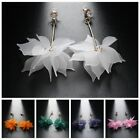 Women's Elegant Ear Stud Crystal Flower Long Drop Dangle Earrings Party Jewelry