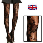 NEW Womens Black Floral Rose Patterned Tights Ladies Flower Pattern Fishnet UK