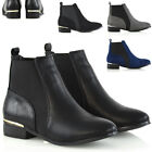 Womens Pull On Ankle Boots Heel Trim Elasticated Ladies Casual Riding Booties